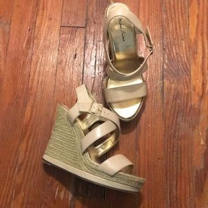 Strapped nude wedge